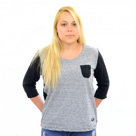 T-shirt manche 3/4 GALANTE noir/gris